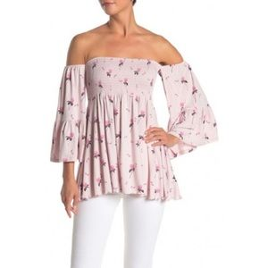 Free People Pink Off The Shoulder Tunic Size S